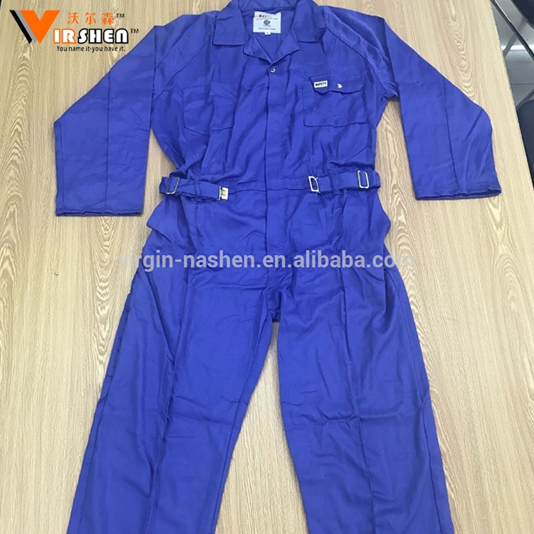 2017 yiwu Cheap safety coverall /workwear uniforms / blue cotton working coverall