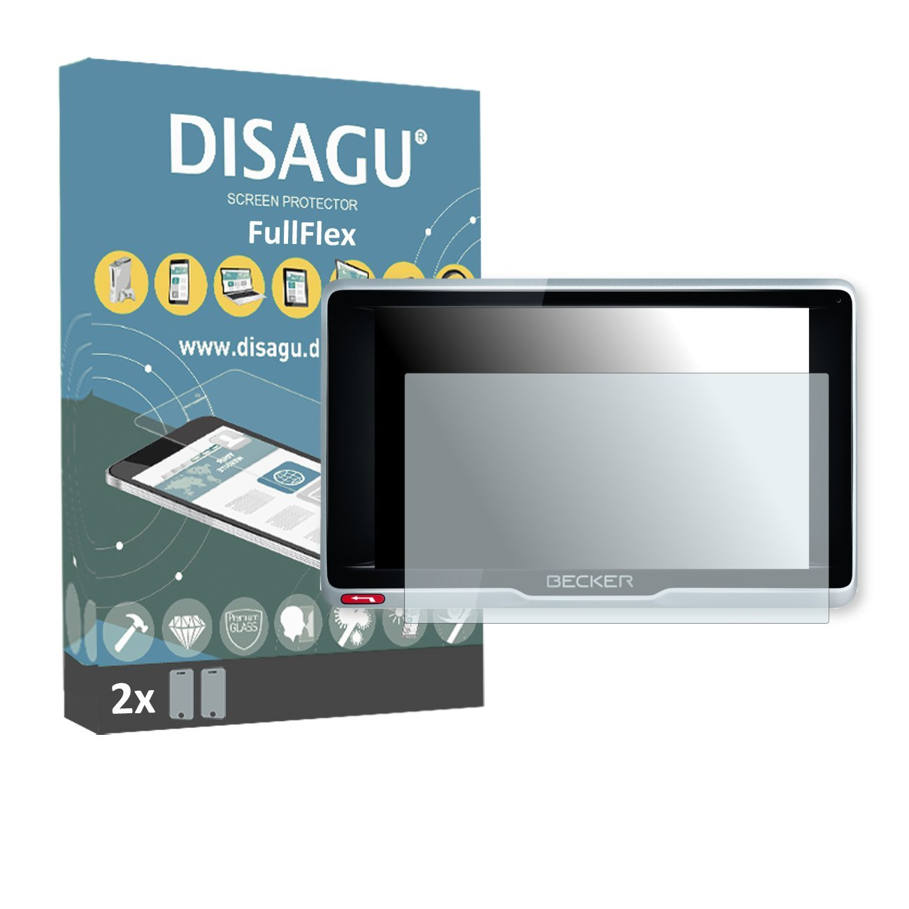 2 x Disagu FullFlex screen protector for Becker Active.6 LMU plus foil screen protector