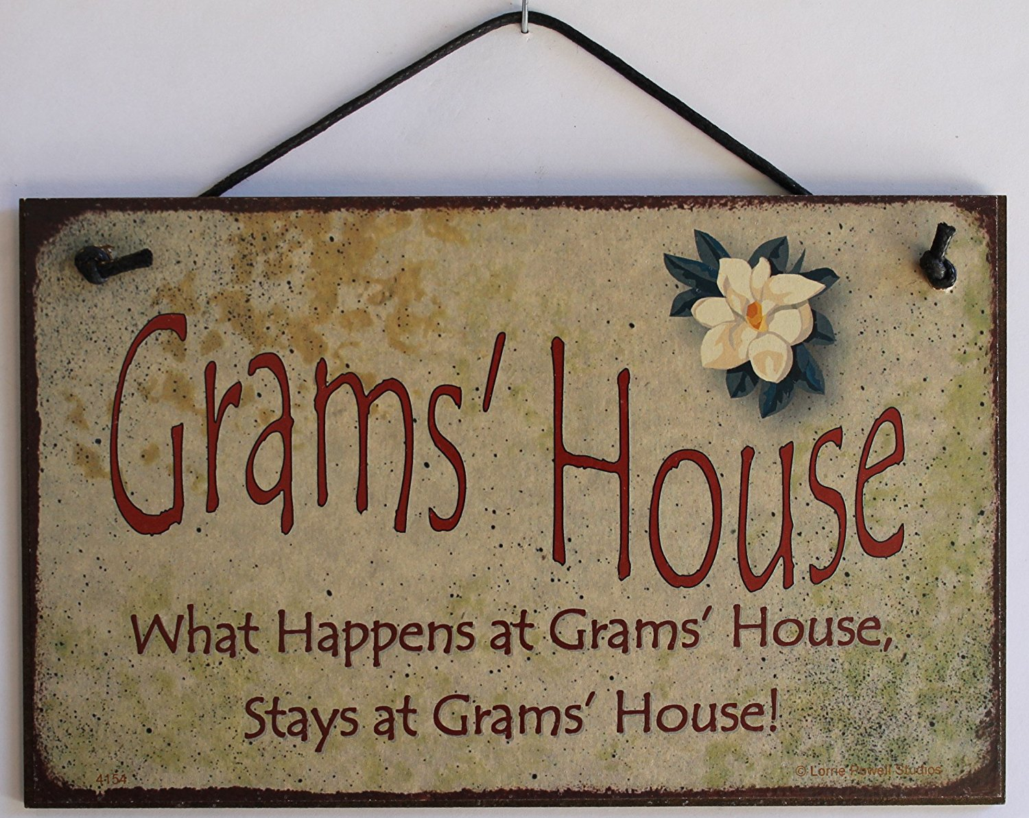 "5x8 Vintage Style Sign with Magnolia Saying, ""Grams' House What Happens at Grams' House, Stays at Grams' House!"" Decorative Fun Universal Household Signs from Egbert's Treasures"