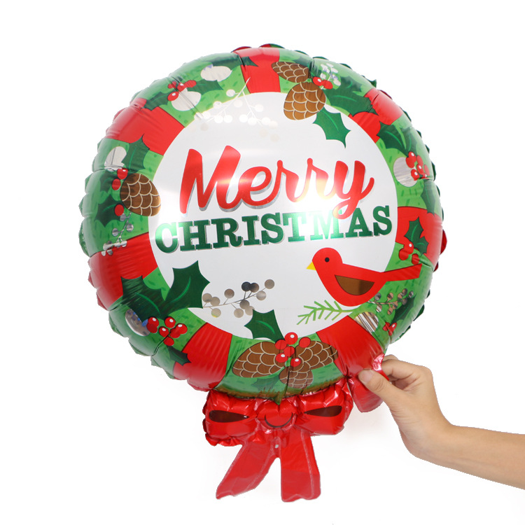 Christmas Hotel Mall Party Decorated With Bow Candy  Aluminum Balloon Round Wreath Helium Balloon  Party Supplies Balloon