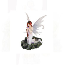 Princess Fairy Kneeling in Pond Mystical Statue Figurine
