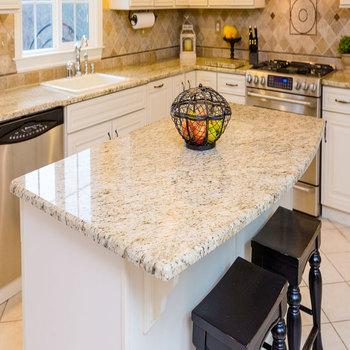 Kabinet Meja Dapur Warna Emas Granit Countertops Italia Carrara