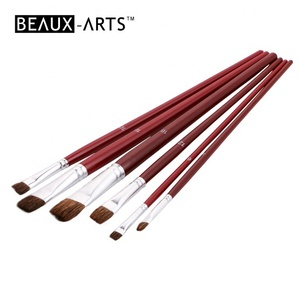 Flat Brown Ox Hair Art Paint Brush Set for Acrylic & Watercolor Use Painting Brush