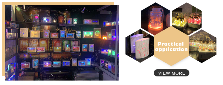 Wholesale Hot Selling Castle Shadow Box Frame with LED Paper Craft Shadow Picture
