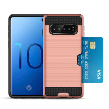 2 IN 1 Combo PC TPU Shockproof Credit Card Holder Phone Case For Samsung S10 /S10 5G