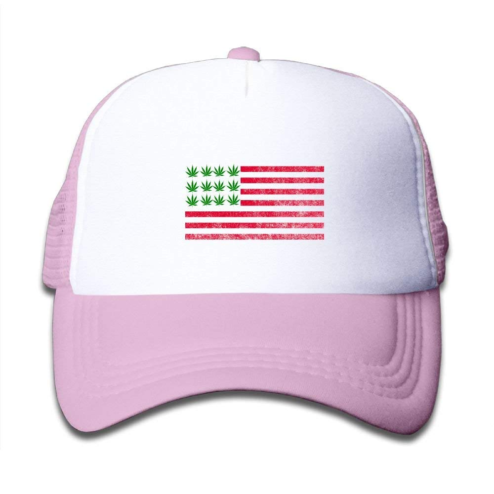 beae9e0ba86 Get Quotations · SDRG5 American Flag Weed Vintage Child Baby Kid Adjustable  Trucker Hat Summer Snapback