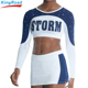 wholesale plus size cheer uniforms custom sublimation printed long sleeve cheerleading uniforms