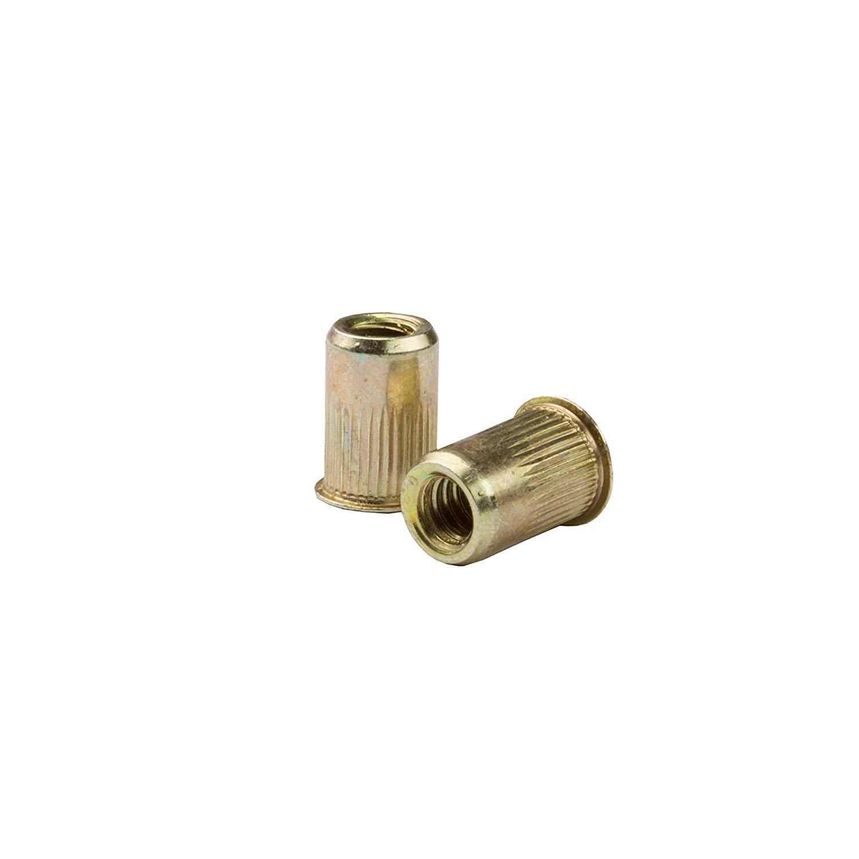 AKS4-8125-7.9, RIVETNUT, M8x1.25 (3.81-7.90mm GR) RND Body Splined, Low PRO HD, Steel, Zinc YLW (100 PK)