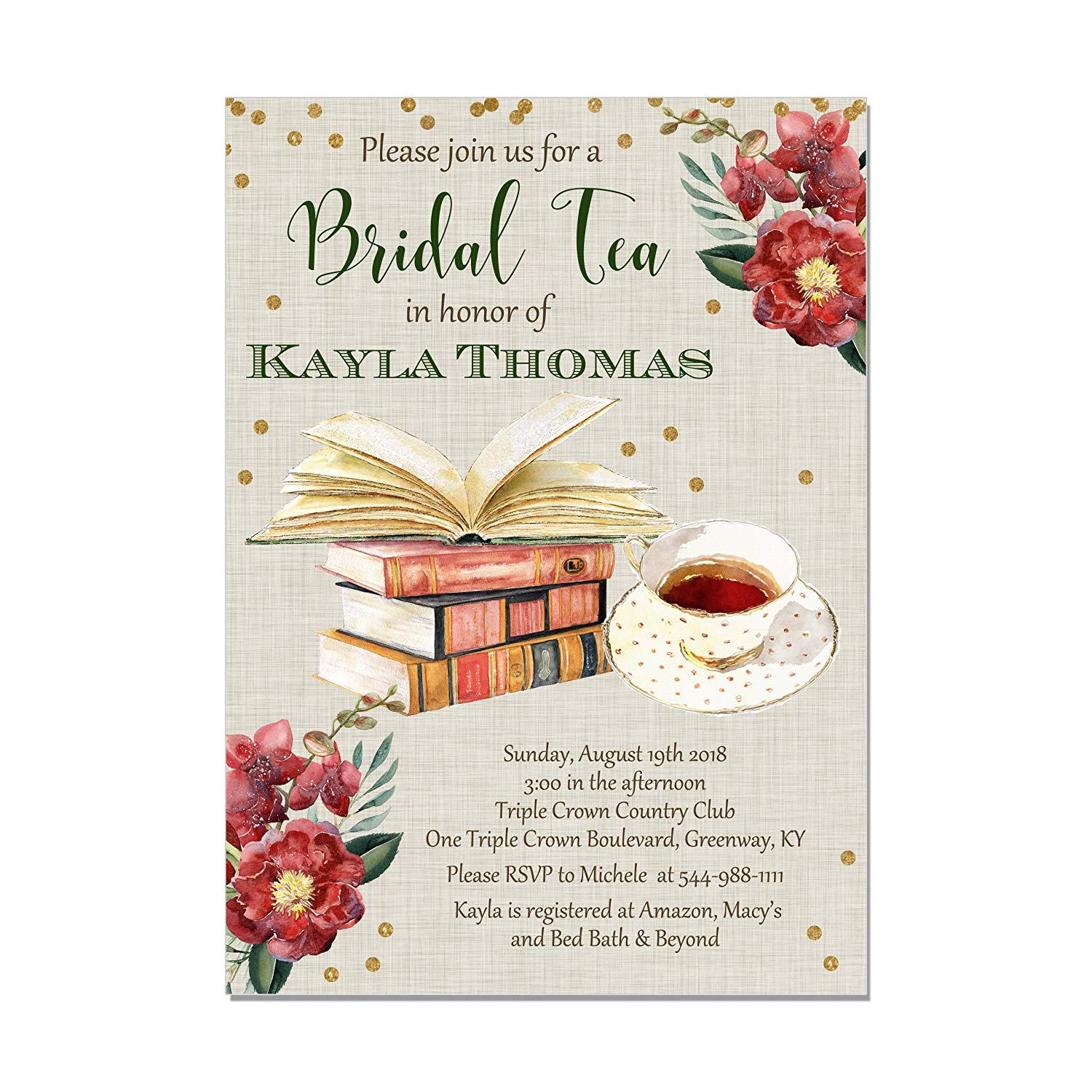 86df692b6f7 Get Quotations · Book Themed Tea Party Bridal Shower Invitations
