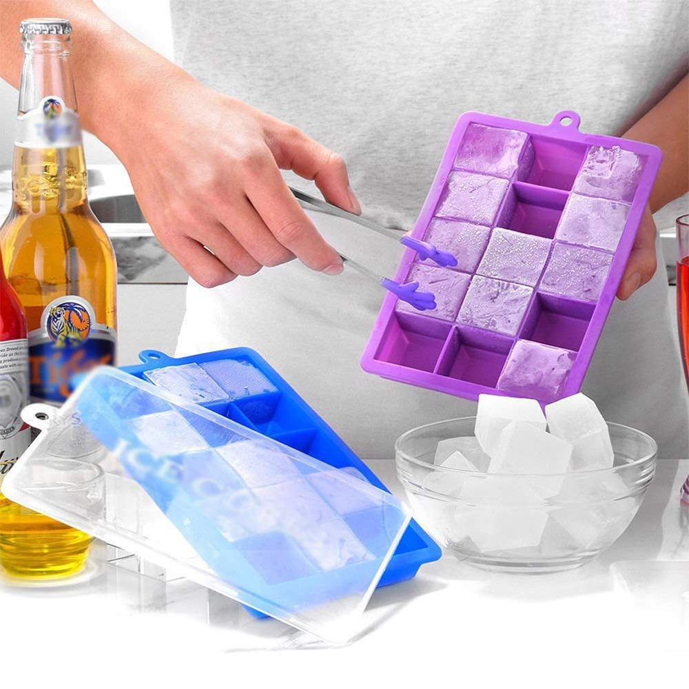 Silicon Kitchen Supplies Ice Cube Tray with Lid Silicon 1Pcs Silicone Ice Cube Mold Tray with Square Lid 15-Hole Ice Cream Tools DIY Ice Jelly Maker Moulds Summer DIY Kitchen Supplies
