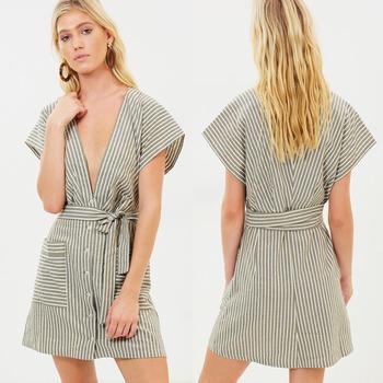 81c64e167b Women Summer Sexy Deep V Neck Cap Sleeve Boho Dress Linen ...