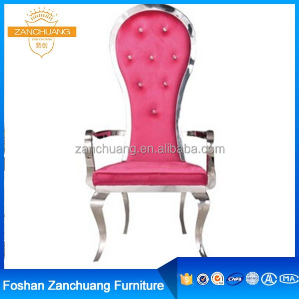Hotel Leather modern stainless steel pink throne chair