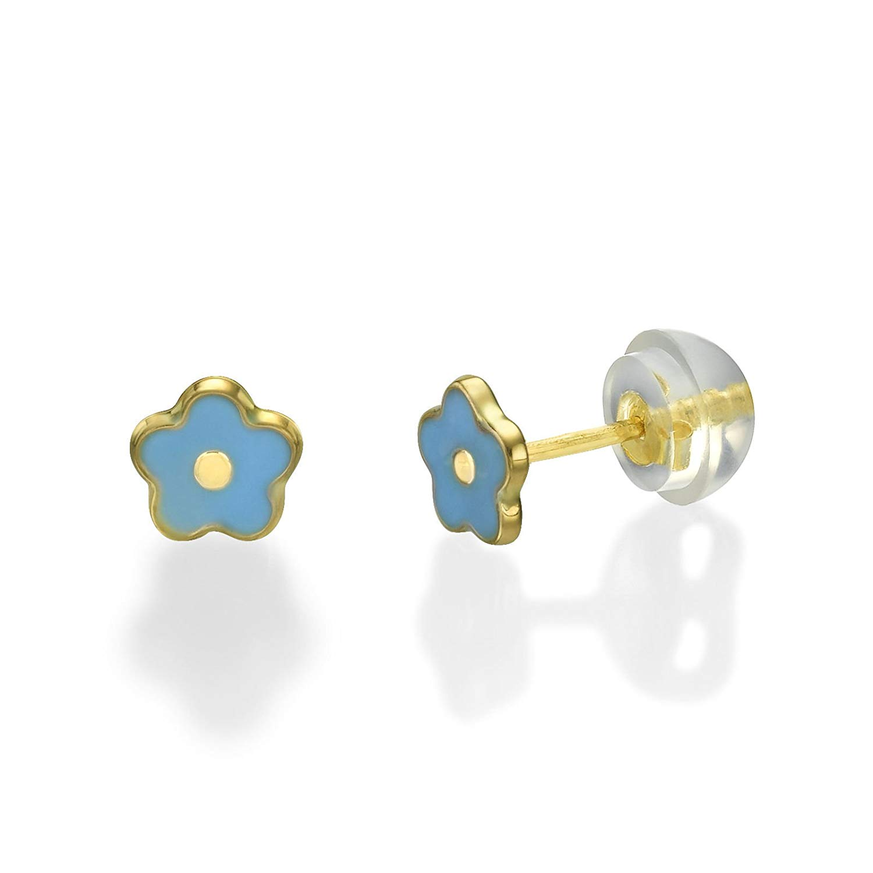 d4eabec61 Get Quotations · 14K Fine Yellow Gold Enamel Flower Screw Back Stud Earrings  for Baby Girls Kids Gift Children