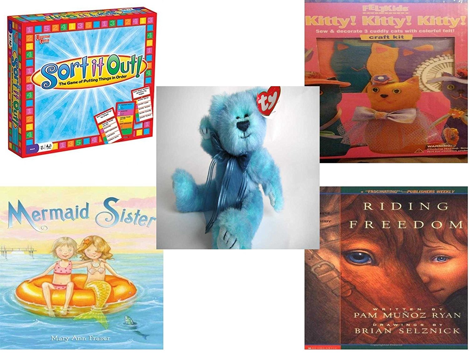 Girl's Gift Bundle - Ages 6-12 [5 Piece] - Sort It Out. Game - Felt Kids Kitty Craft Kit Toy - Ty Attic Treasures Azure The Bear - Mermaid Sister Hardcover Book - Riding Freedom Paperback Book