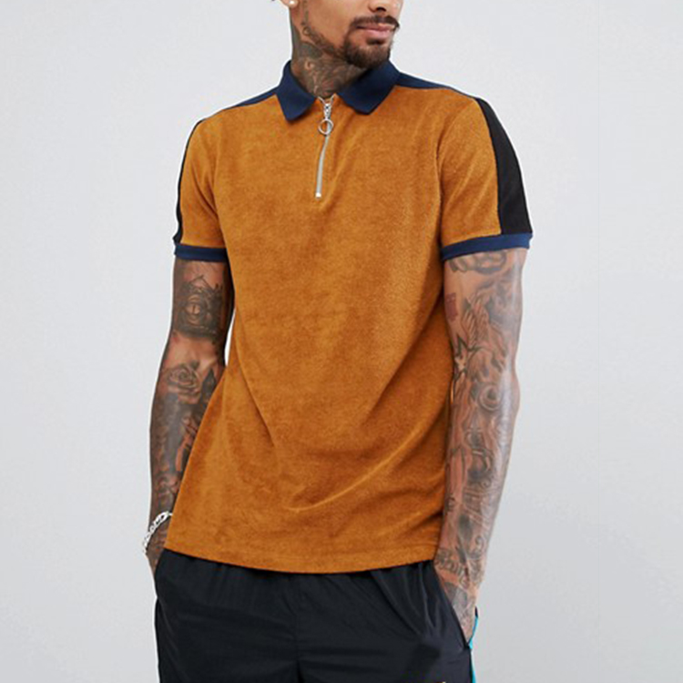 Mens casual wear contrast tipping zip knoopsluiting plain polo t-shirts
