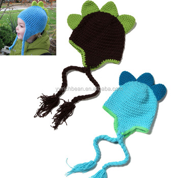 Hot-sales baby winter dinosaur crochet Hat Girl Cap Infant Cotton toddlers  New wool knitting ca365456960