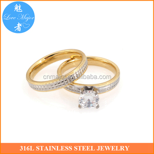 jinhua gold stainless steel couple rings w zircon brand wedding jewelry