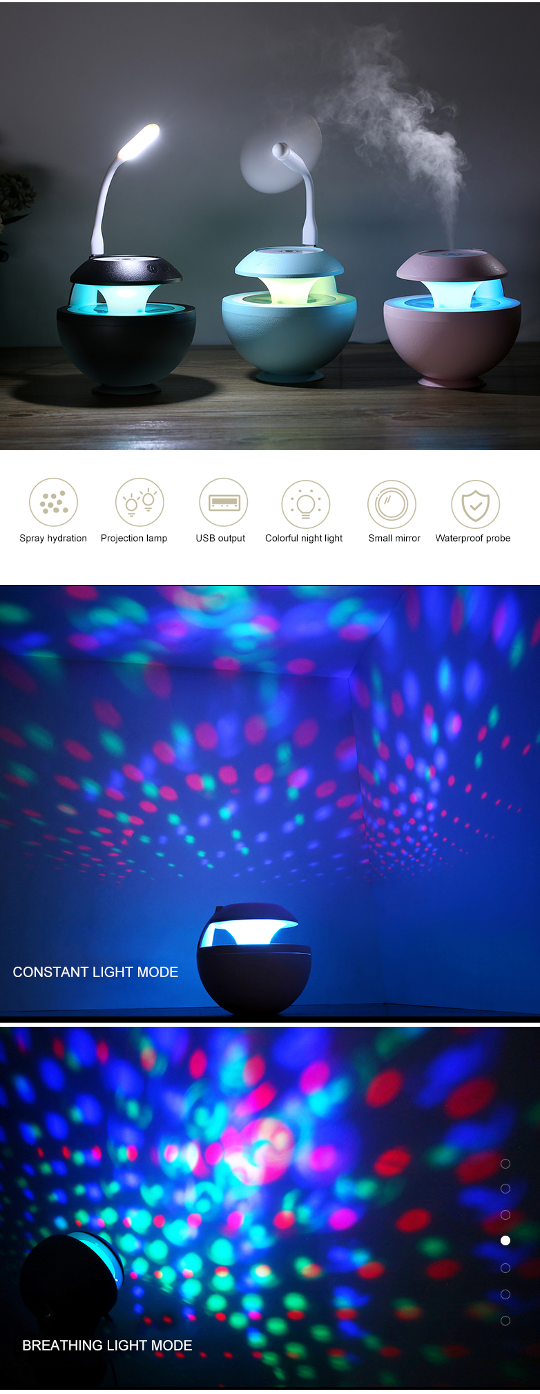 Led light 7 color usb 3 in 1 500 ml pendulum wizard projection humidifier