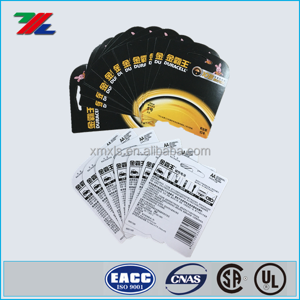 Duracell Sealed Double Side Printing Blister Cardboard Paper Header Card For Battery Packing