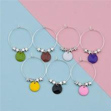 Wholesale Enamel Round Pentagram Star Copper Enamelled Sequins Hoop Wine Glass Charms