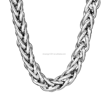Brass Or Stainless Steel Silver Plated Round Wheat Braided Chain Necklaces For Men