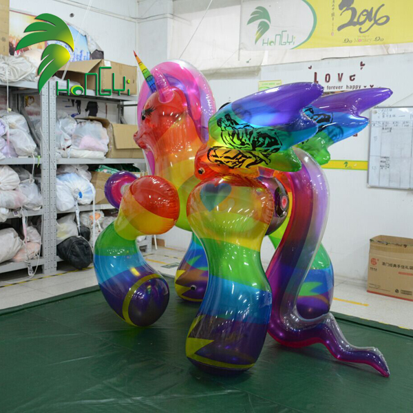 New Design Inflatable Horse Toy , Inflatable Transparent Rainbow Horse With SPH