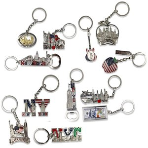 Wholesale engraving tourism souvenir gift customized shape steel i love new york keychain