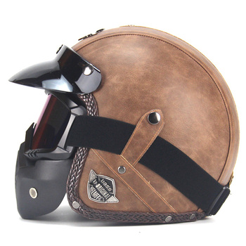 Fashion PU Leather Helmets 3/4 Full Face Vintage Motorcycle Helmet With Goggle Mask