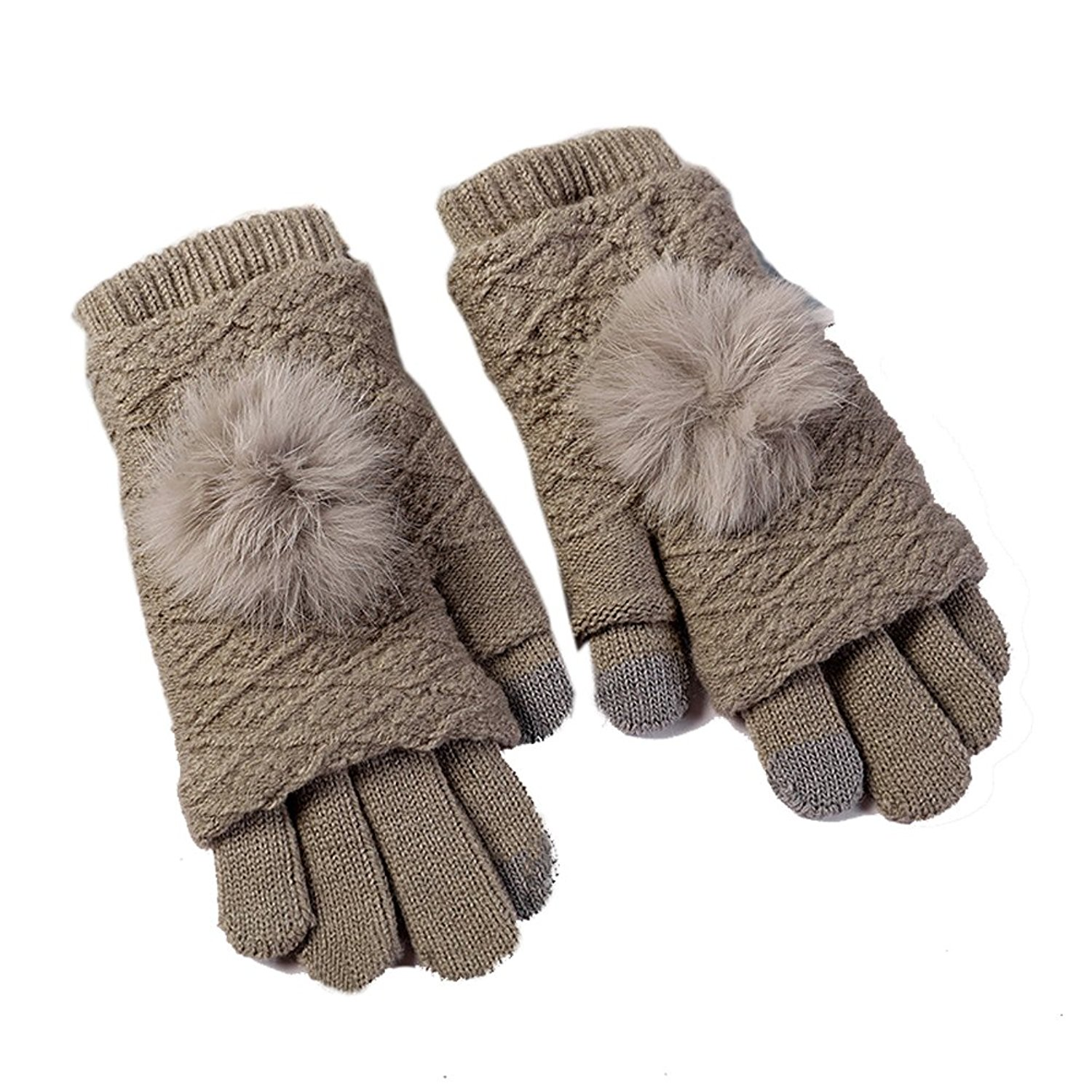 694451a73 Get Quotations · Aodewe Women Winter Warm Touched Screen Glove Thicken  Double Knit Wool Glove For Ladies Girls