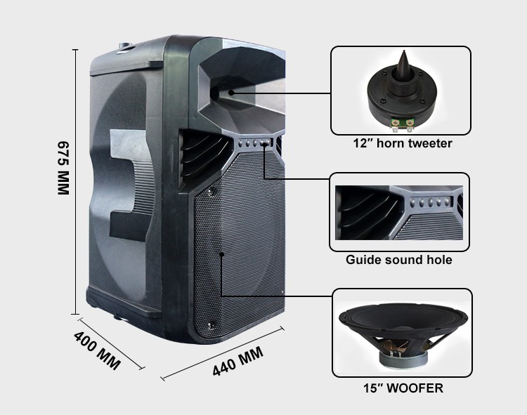 15inch Portable Trolly Speaker 120w Big Power Active Plastic ...