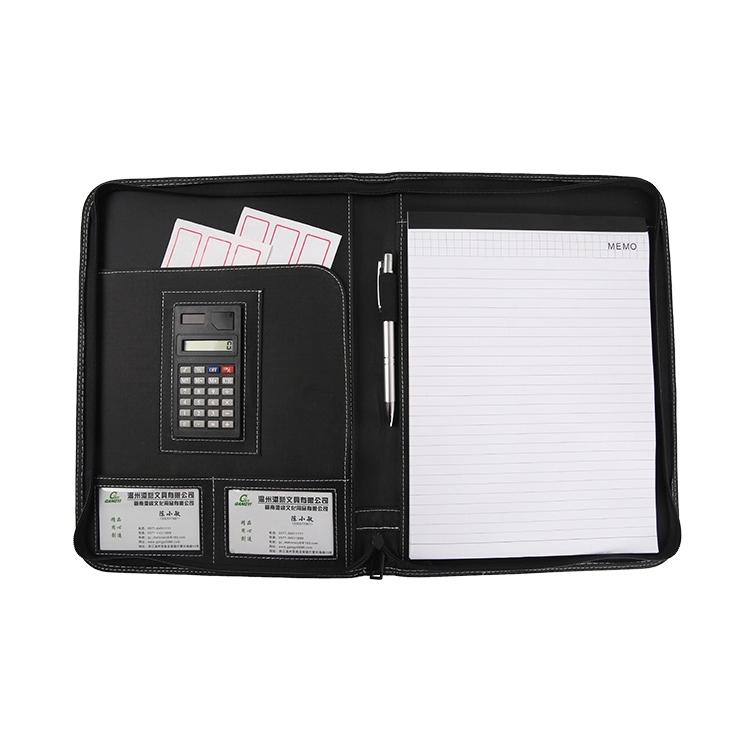 high quality a5 genuine leather resume portfolio folder