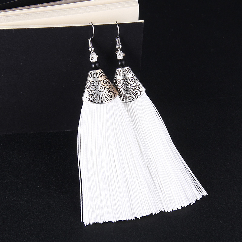 Long Exaggerated Brush Fashion Jewelry Tassel Earrings