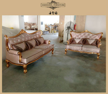 Golden Fabric Curved French Provincial Furniture Sofa Set Designs