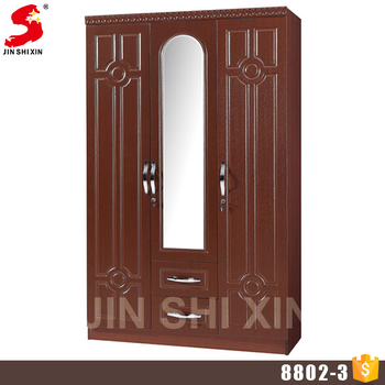 Trade Assurance Portable Mdf Wooden 3 Doors Wardrobe Closet With