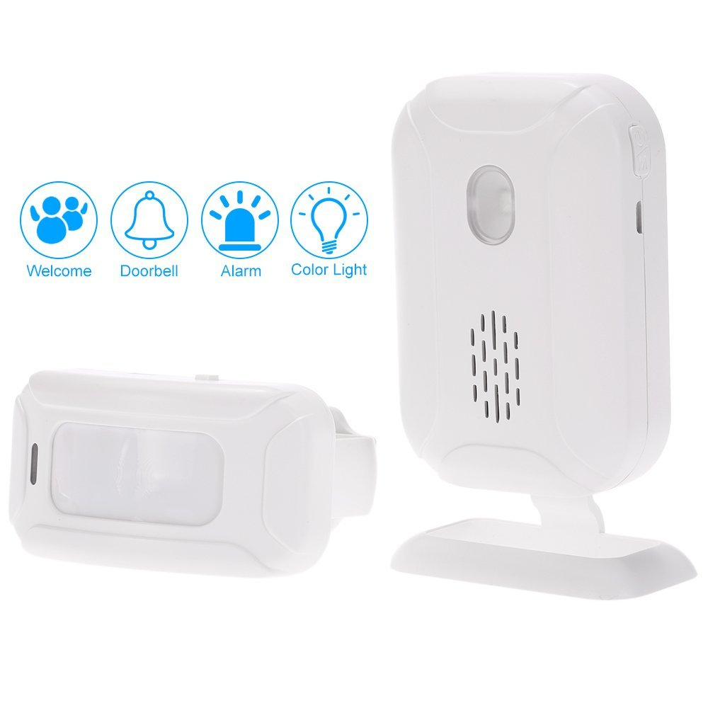 Wireless Welcome Door Bell Alarm Chime kit 5in1 mutil-function Range of 280M batteries or USB interface power supply Loud alarm