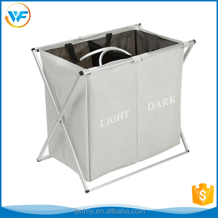 2 Compartments X-frame Fabric Storage Basket Storage laundry Hamper Grey with Aluminum Handles