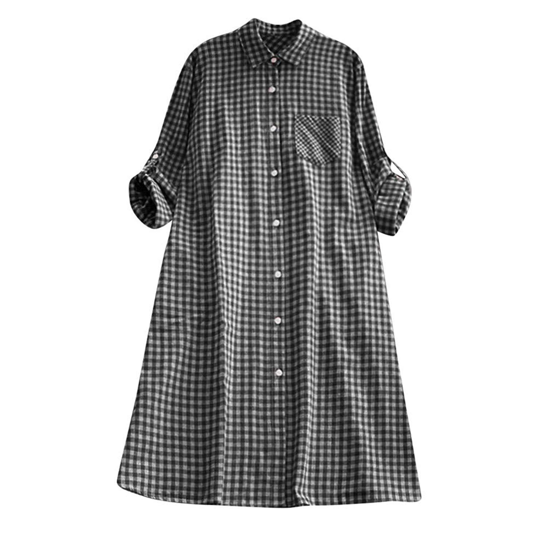 79edddae6fa Get Quotations · Women s Dresses Long Sleeve Casual Plaid Plus Size Tunic  Button Down Pocket Shirt Dress Ladies Mini