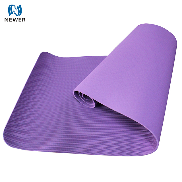 Cheap high quality anti slip 6mm 8mm 10mm single layer waterproof gym customized printed tpe yoga mat