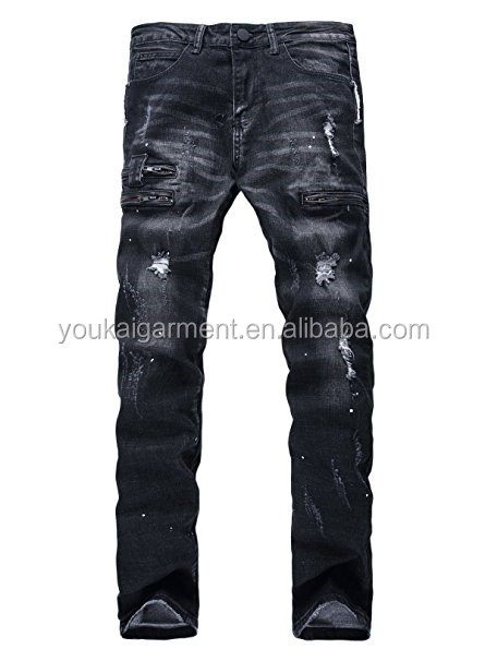 brand men jeans pants black straigth jeans destroyed broken hole with zipper-decoration