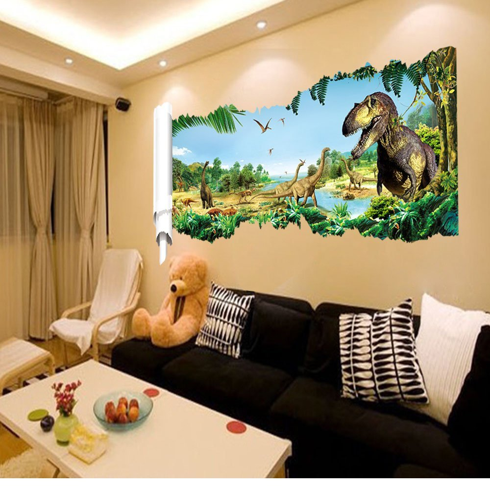 Buy Mlm Jurassic World Dinosaur Scroll 3d Removable Pvc Wall Decals