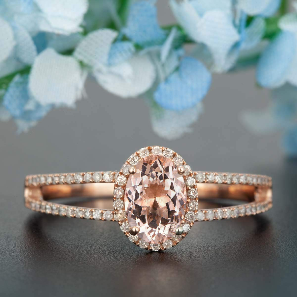 1c6370dd8908d5 Get Quotations · Beautiful 1.50 Carat Antique Design Oval cut Morganite and  Diamond Halo Split shank Engagement Ring for