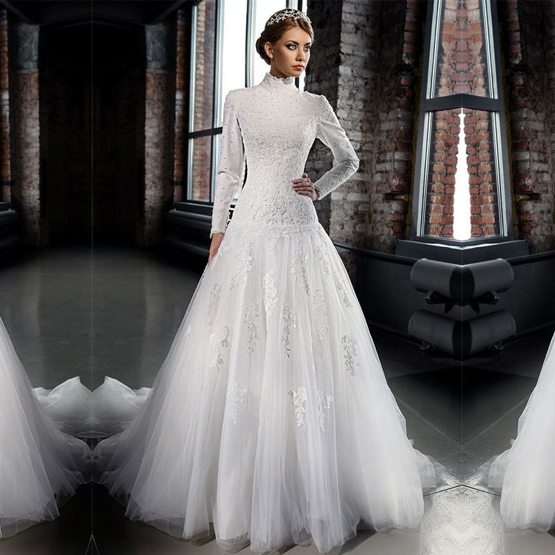Elegant Long Sleeve Wedding Dresses Muslim Dress 2015: White Muslim Wedding Dress Islamic Bridal Gowns Long