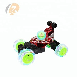 translucent huge tires stunt car 360 toy kids car with music