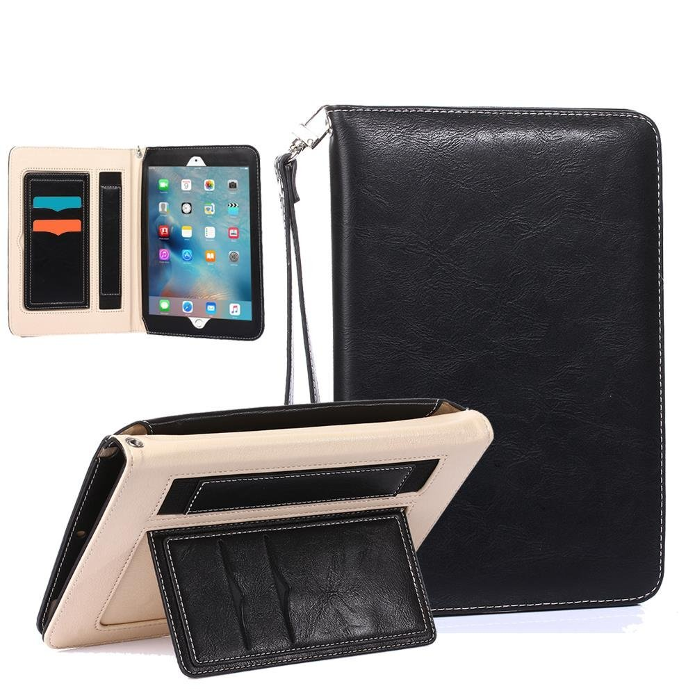 iPad Air Case, TabPow All-in-One - Premium PU Leather Smart Case Cover With Card Slots, Kickstand, Elastic Hand Strap Grip For iPad Air (2013 Edition) - Black