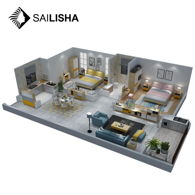 इंटीरियर डिजाइन प्रस्तुत परियोजना पूर्ण घरों फर्नीचर सूट बेडरूम/कमरे में रहने वाले/भोजन कक्ष फर्नीचर सेट