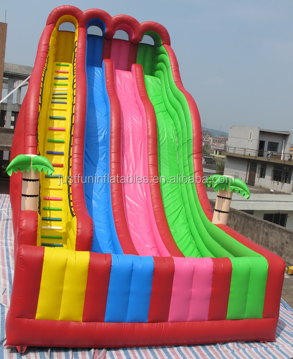 Inflatable Water Slide Dubai: 24'h Triple Lane Tropical Giant Inflatables Water Slide