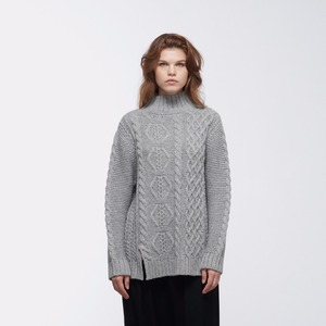 2018 Fall Winter Cable Knit Oversized Turtleneck Sweater