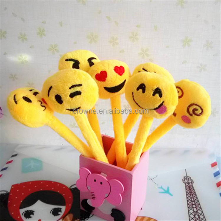 2017 Latest Design Fancy Children Plush Emoji Toy Promotional Ballpoint Pen