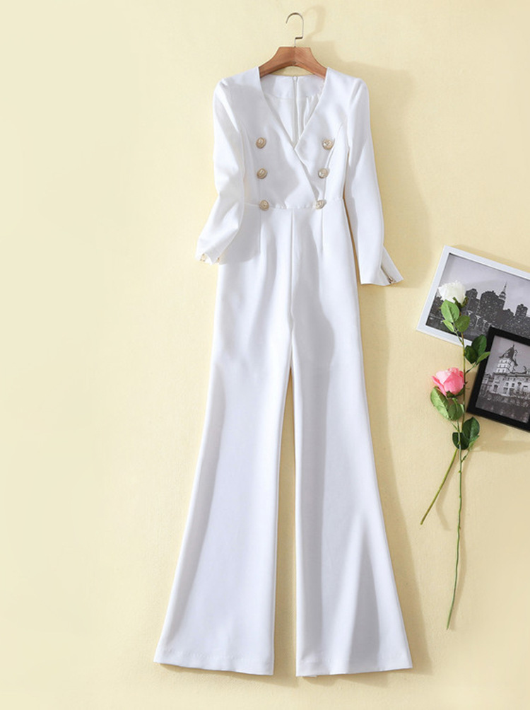 A2446  New Arrived  Runway  V Neck Romper Bell Pant  White Jumpsuit 2020