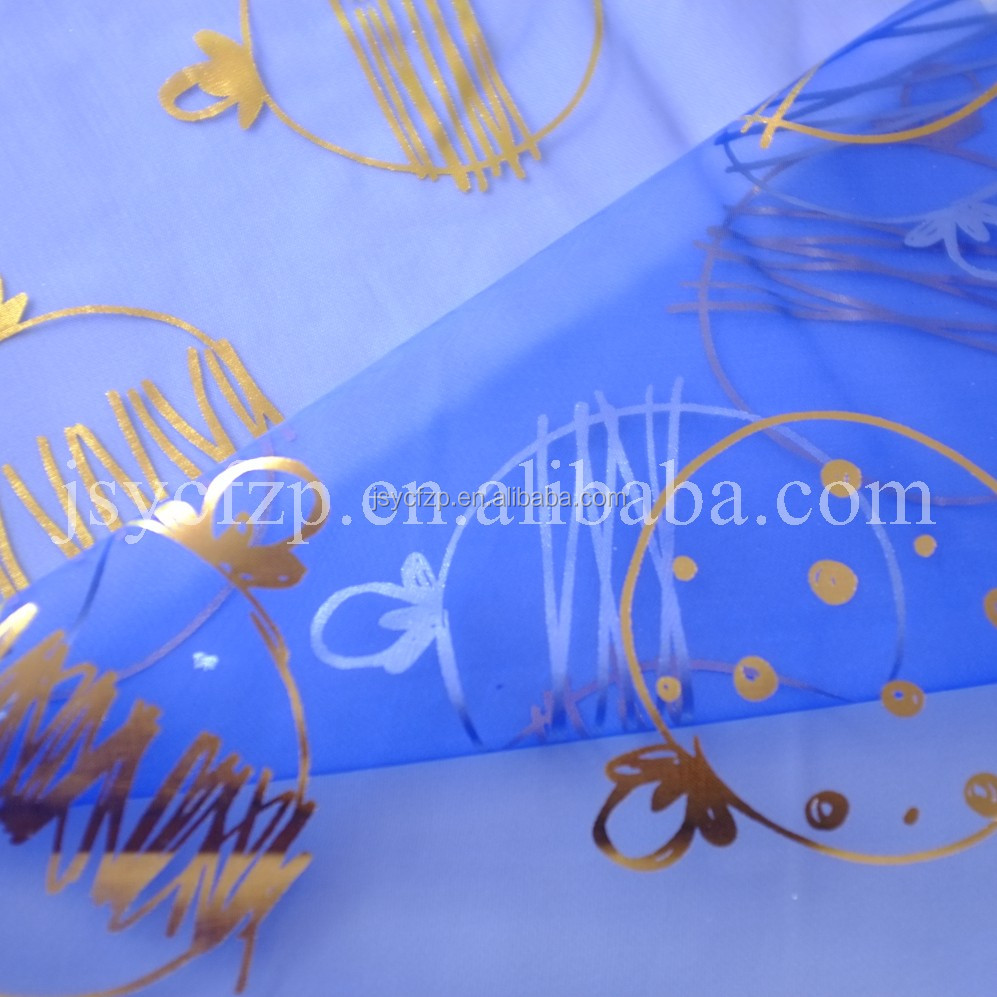 organza sheer fabric with bronzing print for holiday christmas dercoration for gift bags